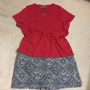 Plus navy skort and red top set